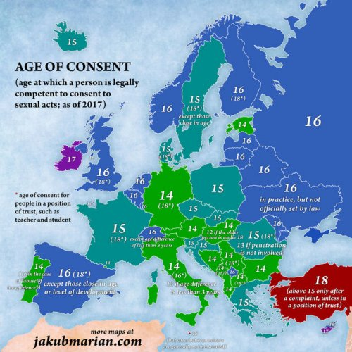 Карта возраста сексуального согласия